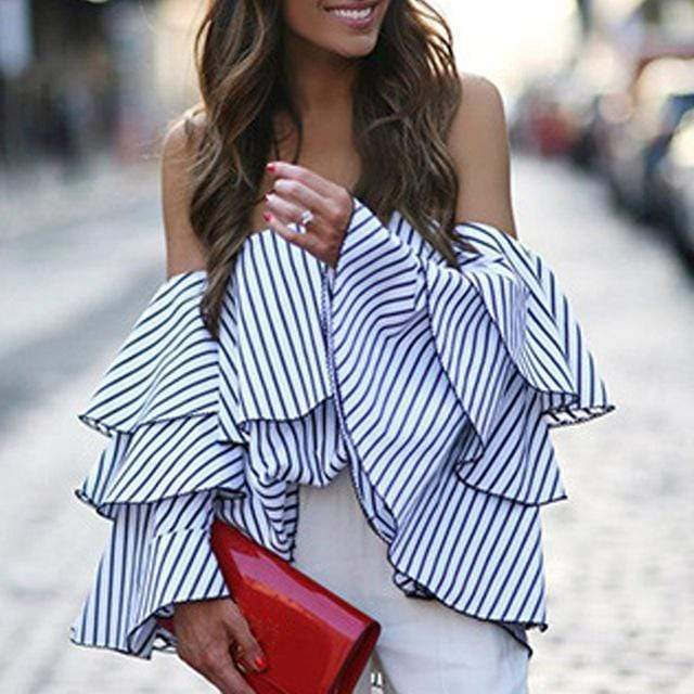 Summer of dreams stripe off shoulder top - Fashion Bug Online