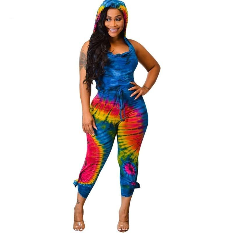 Tie Dye Print Backless Hooded Jumpsuit - Fashion Bug Online