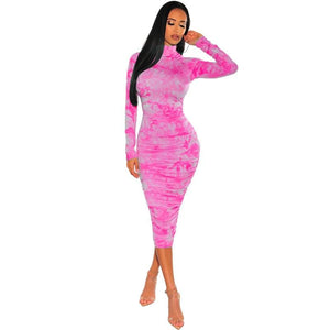 Tie-Dye Print Tube Bodycon Dress - Fashion Bug Online