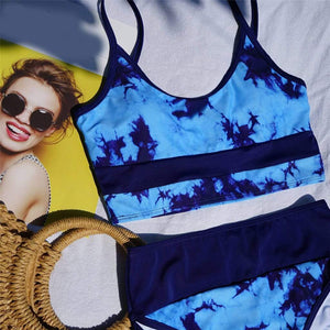 Tie-dyed Print High Waist Bikini - Fashion Bug Online