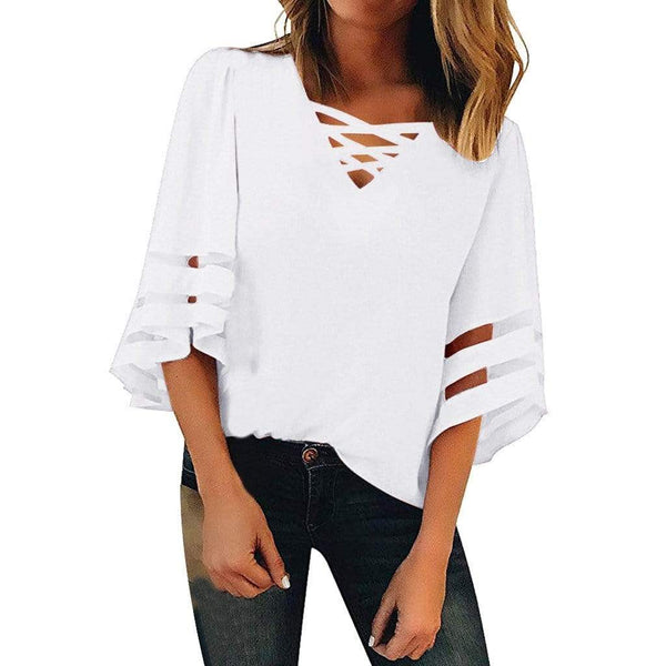 Transparent mesh stripes on sleeve loose blouse - Fashion Bug Online