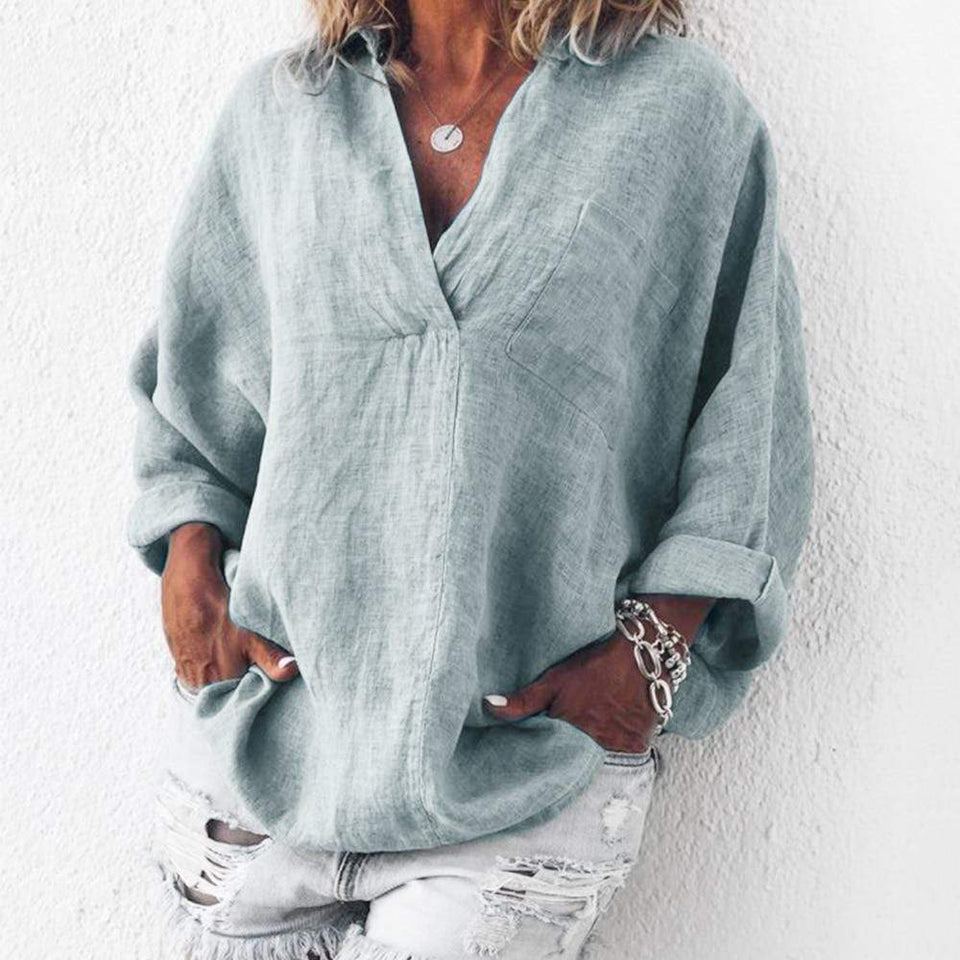 Turn Down Collar Long Sleeve Blouse - Fashion Bug Online
