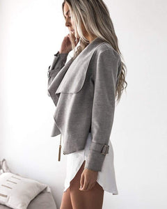 Turn Down Collar Loose Long Sleeve Cardigan - Fashion Bug Online