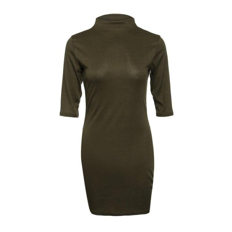 Turtleneck Slim Bodycon Dress - Fashion Bug Online