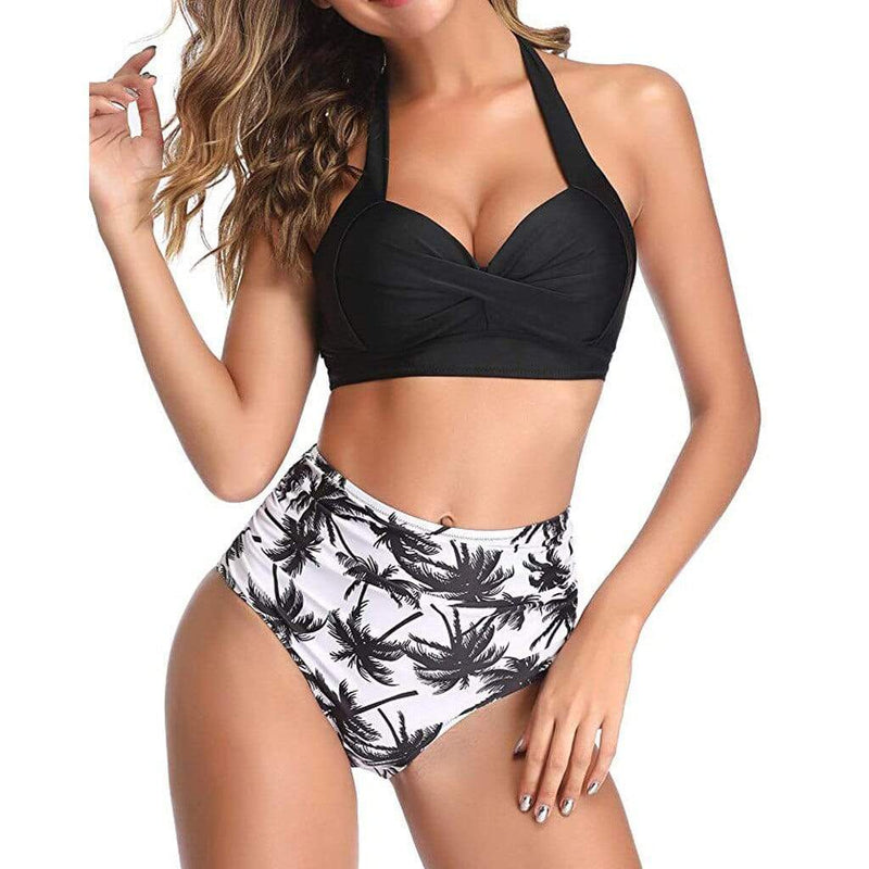 Vintage Print Halter Ruched High Waist Swimwear - Fashion Bug Online