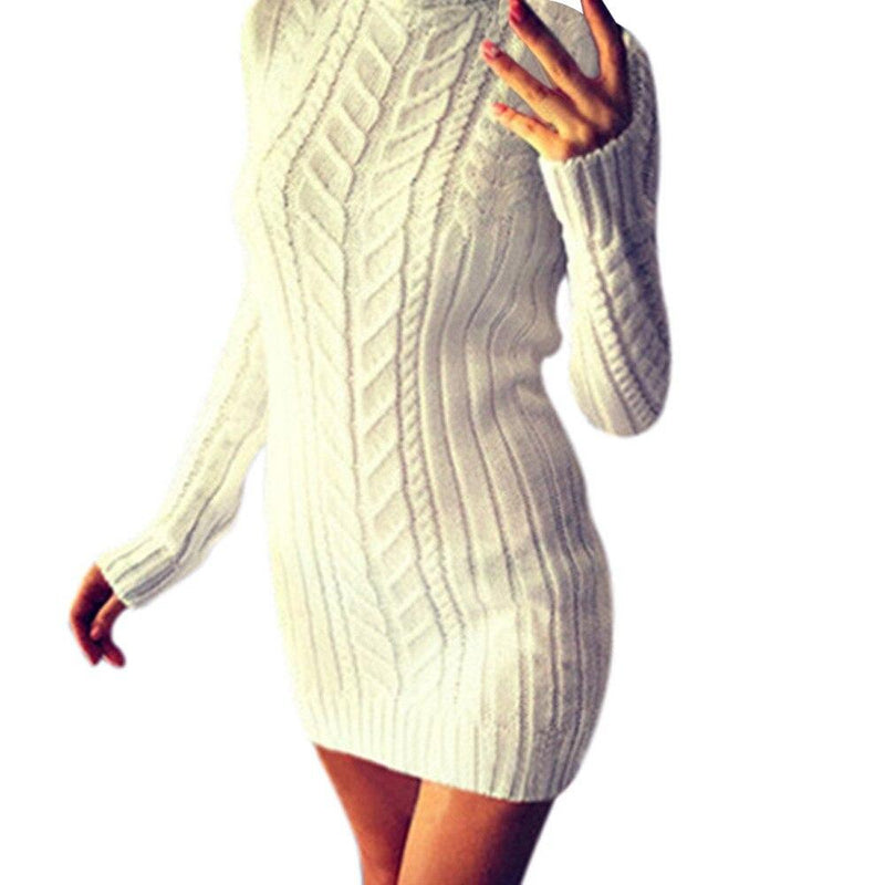 Warm Solid Knitting Turtleneck Sweater Dress - Fashion Bug Online
