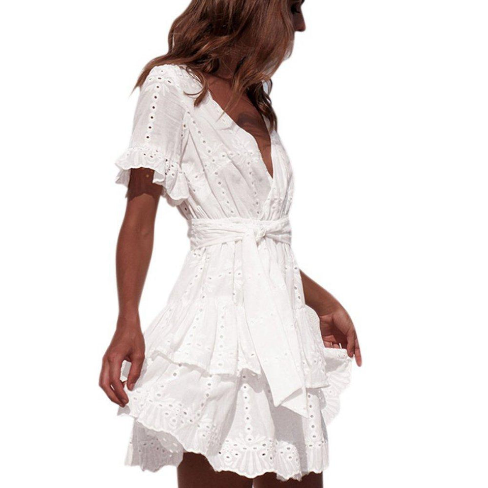 White Embroidery Cotton Dress - Fashion Bug Online