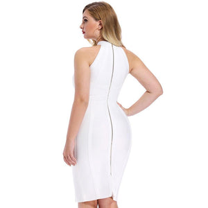White Striped Bandage Dress - Fashion Bug Online