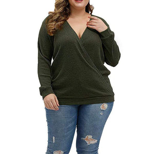 Wrap Deep Cross Long Sleeve Loose Top - Fashion Bug Online