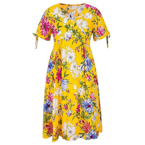 Yellow Floral Print Button Short Sleeve Dress - Fashion Bug Online
