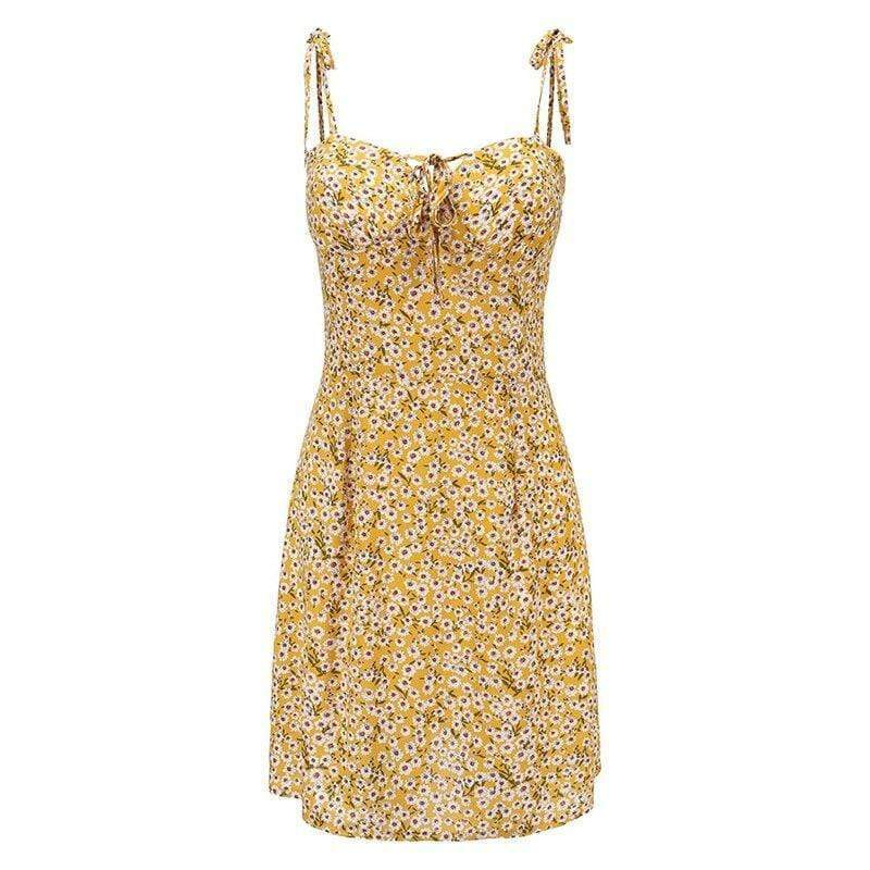 Yellow Floral Spaghetti Strap Mini Dress - Fashion Bug Online