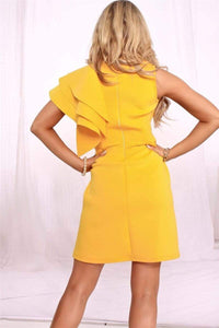 Yellow One Shoulder Cascading Ruffle Mini Dress - Fashion Bug Online