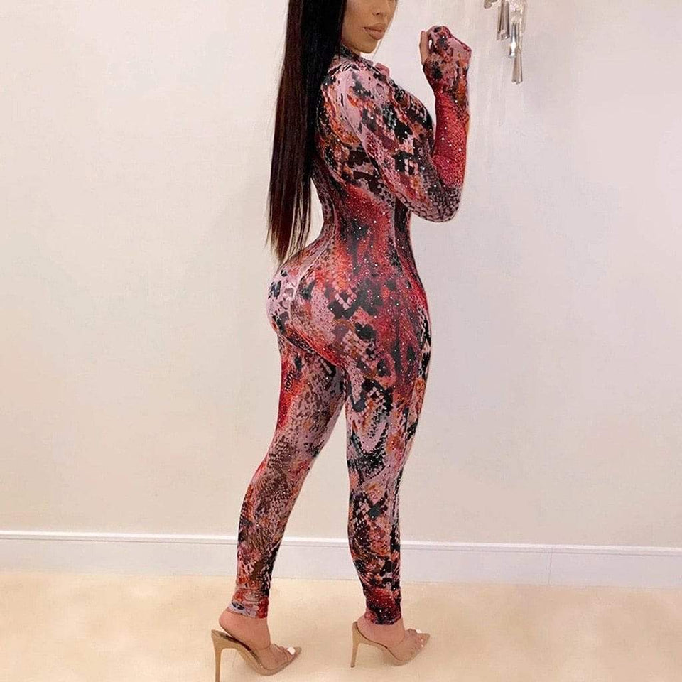 Young forever snake pattern slim fit jumpsuit - Fashion Bug Online