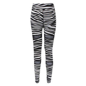 Zebra striped mesh spliced workout leggings - Fashion Bug Online