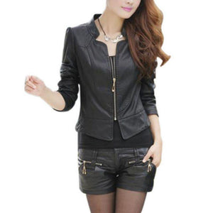Zipper Biker Leather Jacket - Fashion Bug Online