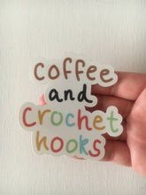 Load image into Gallery viewer, Coffee and Crochet Hooks Vinyl Sticker