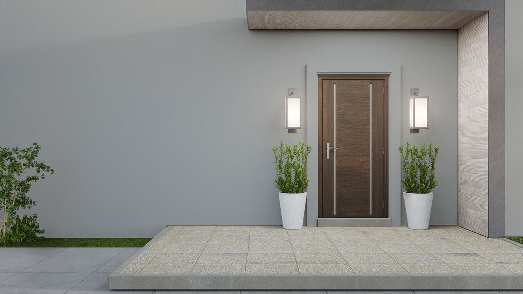 Modern exterior entrance space with brown door, plants and Grey color walls