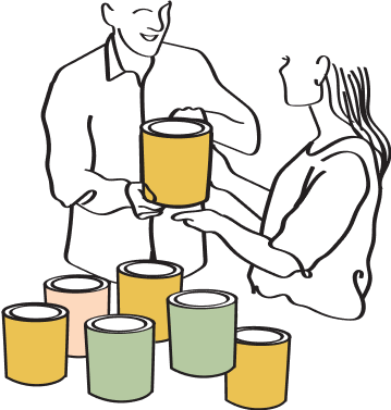 Illustration of two people and cans of paint