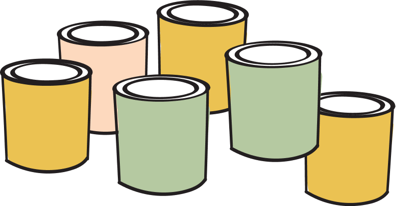 Illustration of six paint cans