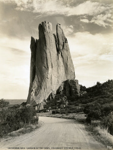 Vintage 1930s Era Black and White Poster Photo of Cathedral Rock at Garden of the Gods in Colorado Springs, CO