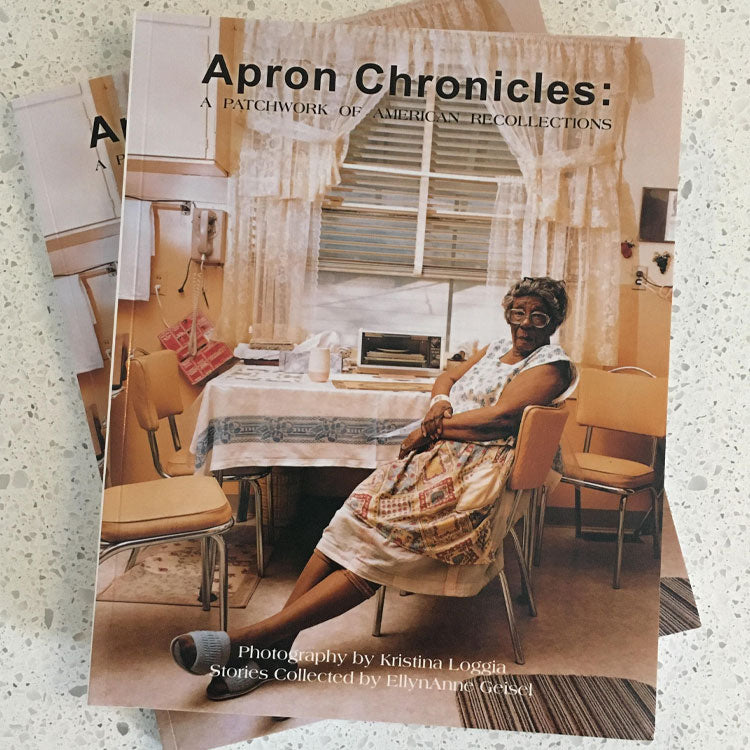 The Apron Chronicles Exhibition Companion Book for the exhibit catalog for the Apron Chronicles: A Patchwork of American Recollections at History Colorado Center.