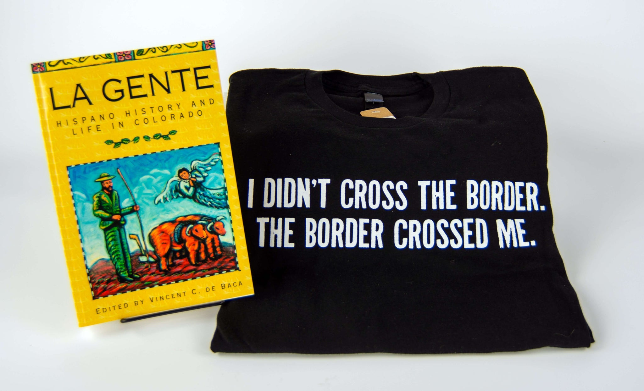 Borderlands of Southern Colorado Bundle from the History Colorado Shop includes a black History Colorado t-shirt and the La Gente book