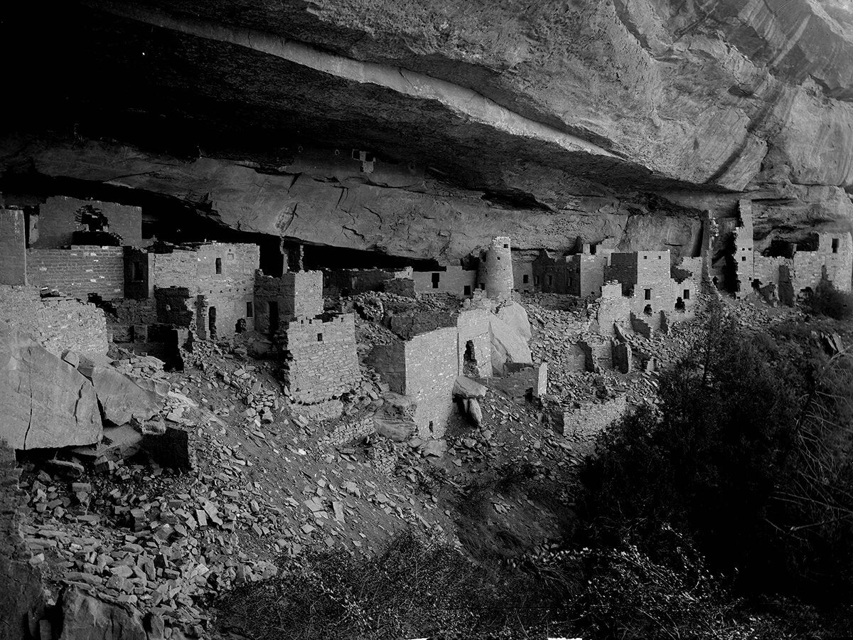 Vintage poster of Cliff Palace at Mesa Verde in Southwestern Colorado reproduction from History Colorado's collection