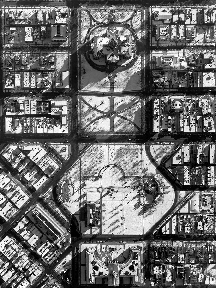 Black and white historical photo print of an aerial view vintage poster of Denver Civic Center Park circa 1930-1940 - Historical Photo - Art Deco Style