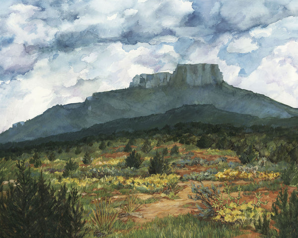 Fischers Peak, print of watercolor by Pueblo artist Bonnie Waugh available in the History Colorado Shop