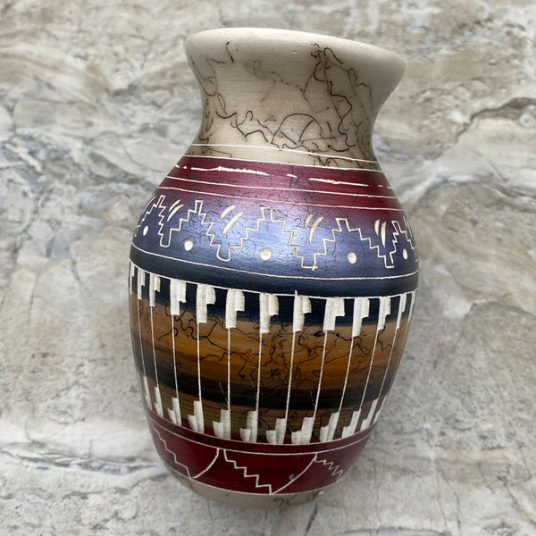 Hand Etched Navajo Horsehair Pottery Vase with Bear
