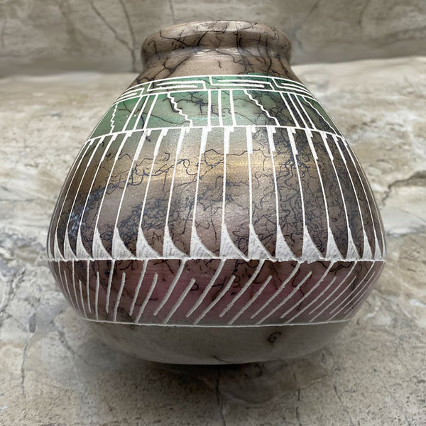 Hand Etched Navajo Horsehair Pottery Vase by Dennison Billy