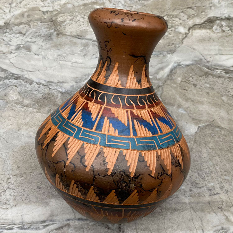 Hand Etched Navajo Pottery - Horse hair Vase