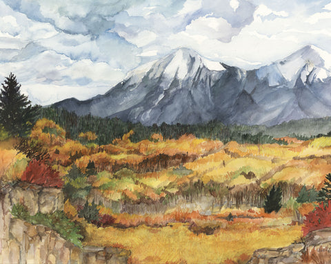 Spanish Peaks Fall Watercolor Print by Artist Bonnie Waugh available in the History Colorado Shop