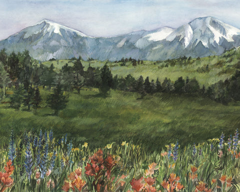 Spanish Peaks Summer Watercolor Print by Artist Bonnie Waugh available in the History Colorado Shop