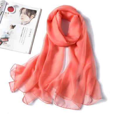 Solid Women Silk Scarf Spring Summer Beach Shawls Bright Foulard Lady Pashmina Neck Scarves Hijab Bandana 2020 New