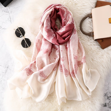 New Women Silk Scarf Fashion Print Head Wraps Lady Shawl Bufanda Foulard Female Pashmina Stoles Warm Scarves Soft Hijab Bandana