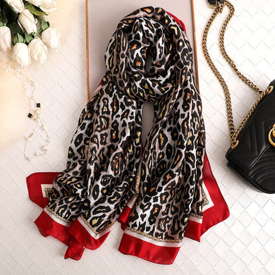 2020 Winter Scarf Silk Warm Shawl Leopard Pashmina Bufanda Women Bandana Soft Foulard Female Stoles Head Wrappint Scarves New