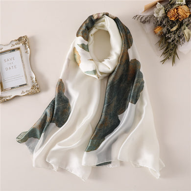 Fashion luxury brand women silk scarves for lady pashmina winter head neck hijab pahsmina shawls and wraps female foulard scarf