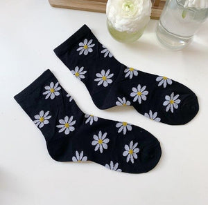 Sheer Coloured Daisy Socks