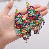 Colourful Hand Beaded Drop Earrings