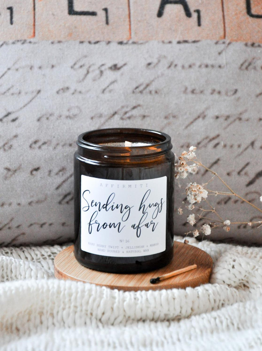 Sending Hugs From Afar Premium Wood Wick Candle
