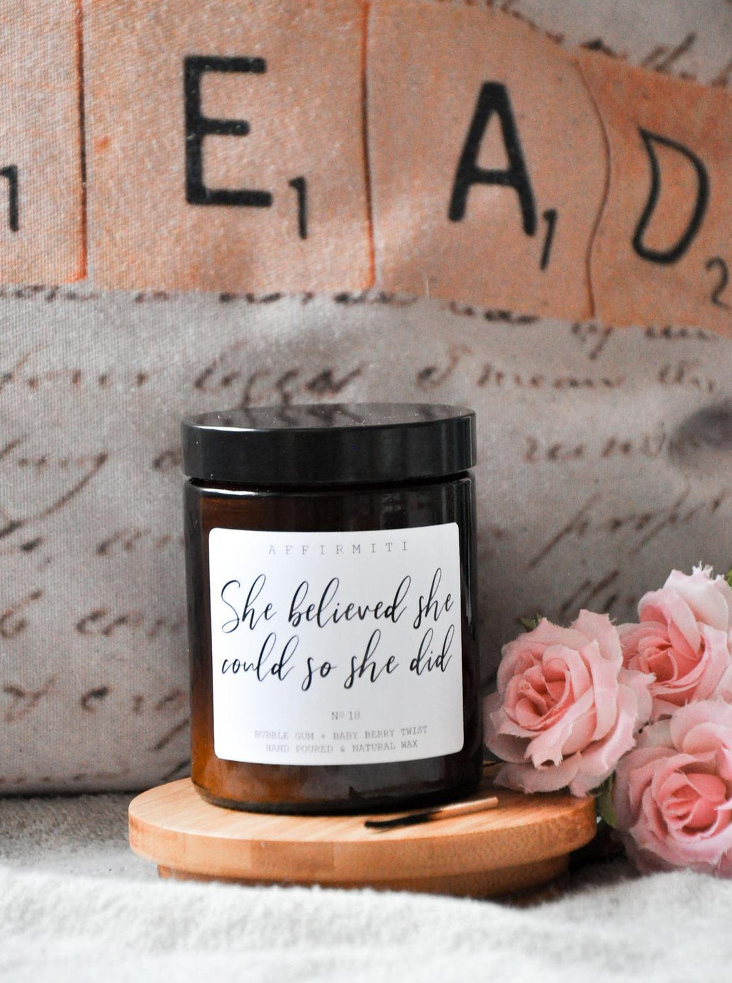 She Believed She Could So She Did Premium Wood Wick Candle