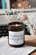 Load image into Gallery viewer, She Believed She Could So She Did Premium Wood Wick Candle
