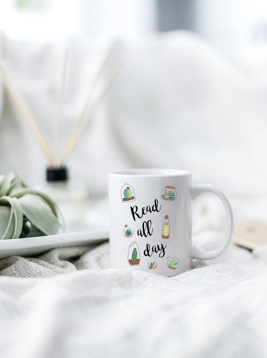 Read All Day Succulent Mug