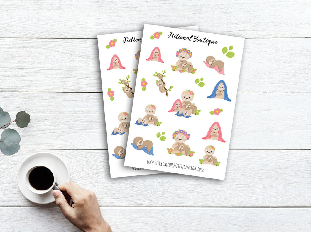 Cute Sloth Family Sticker Sheet