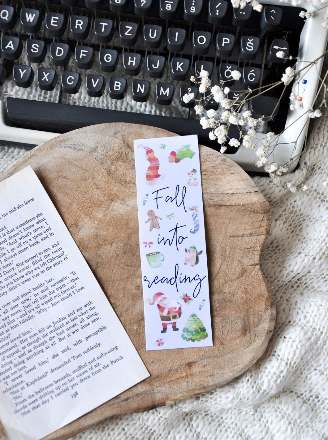 Fall Into Reading Winter Laminated Bookmark