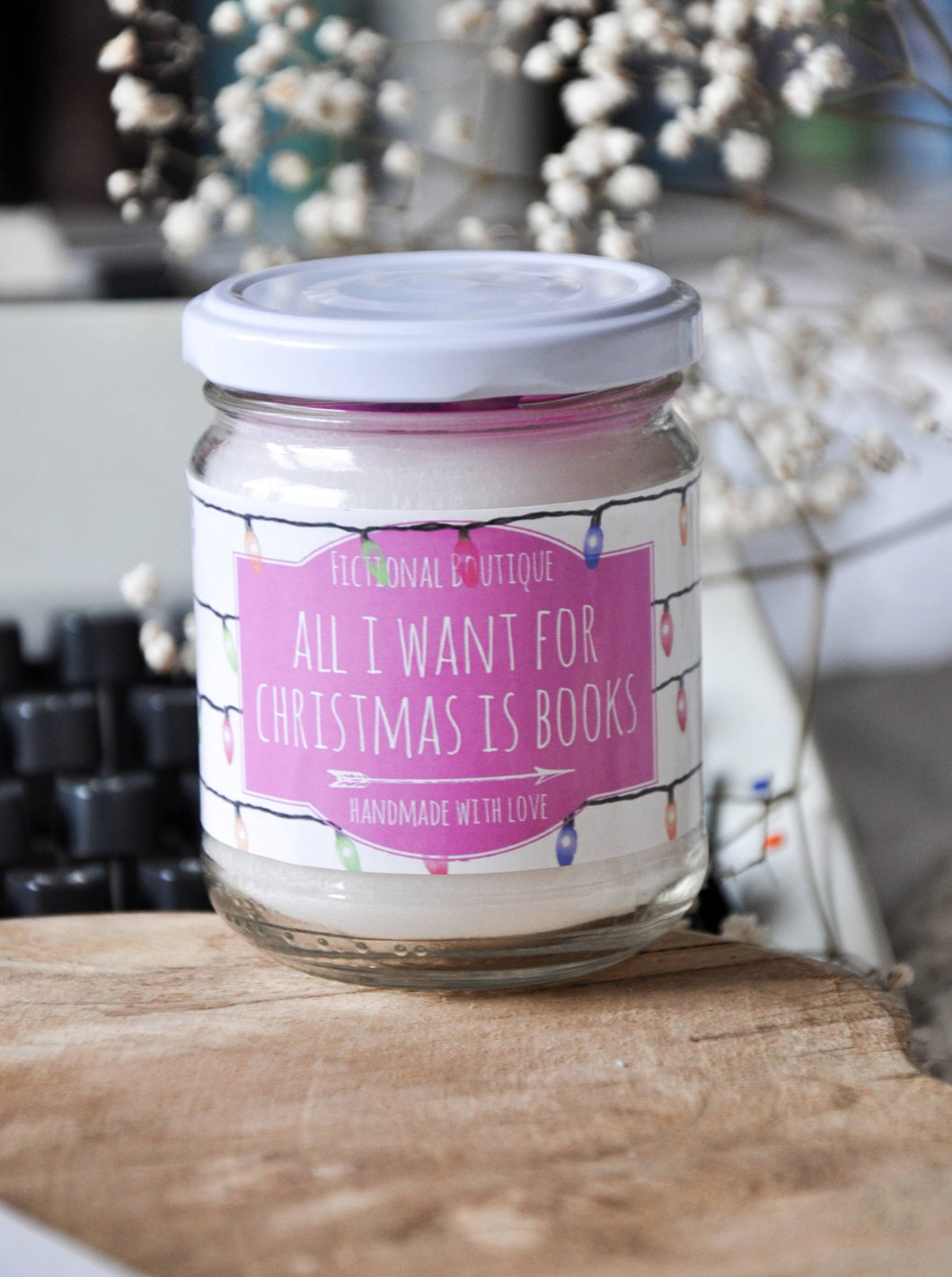 All I Want For Christmas Is Books Candle