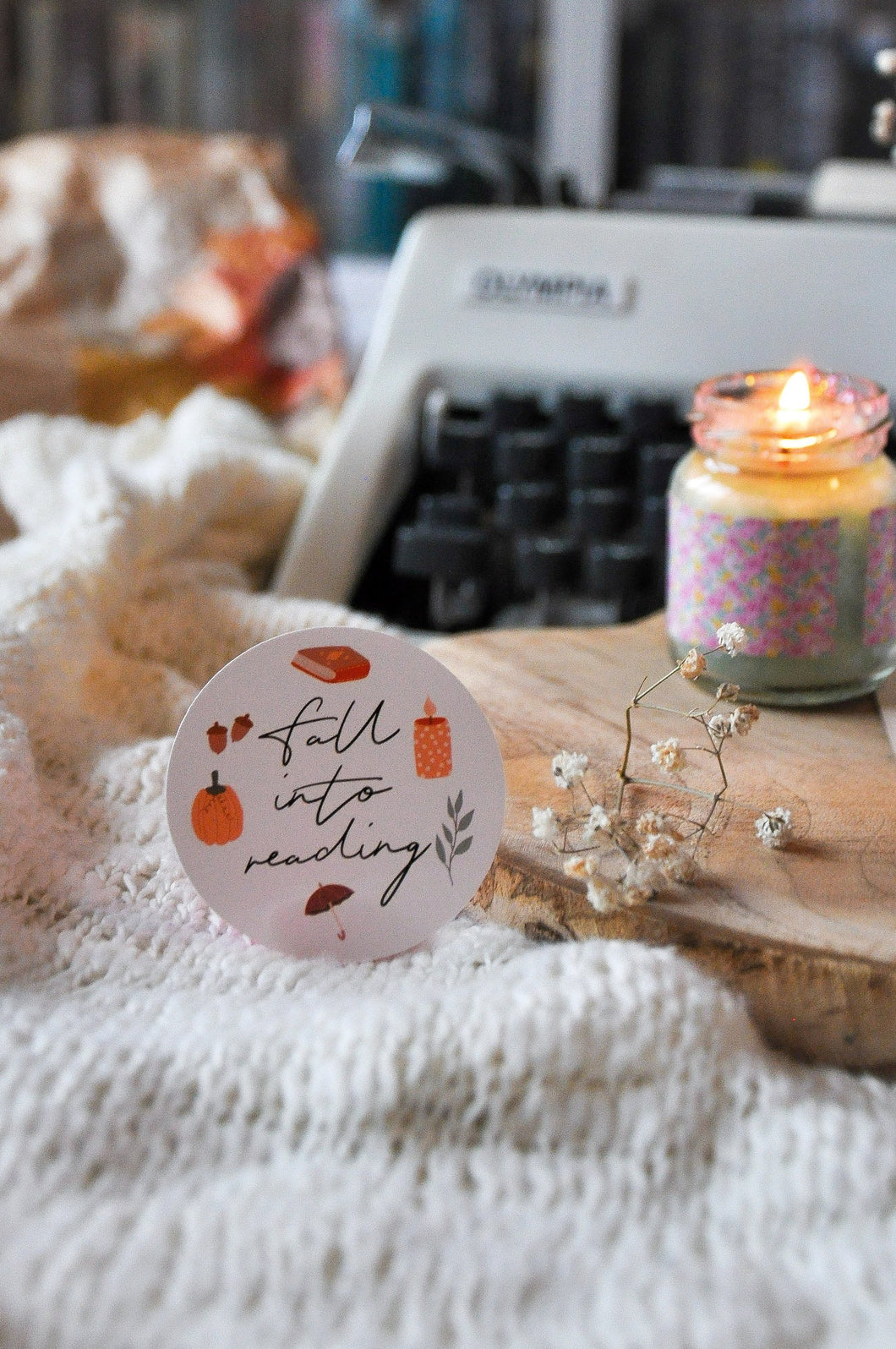 Fall Into Reading Autumn Sticker