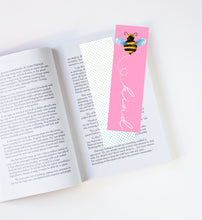 Load image into Gallery viewer, Bee Kind Pink Laminated Bookmark