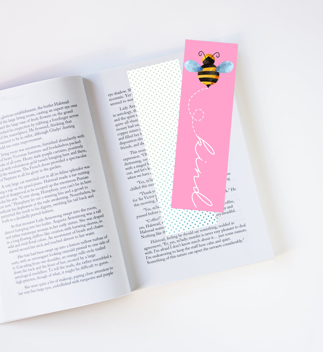 Bee Kind Pink Laminated Bookmark